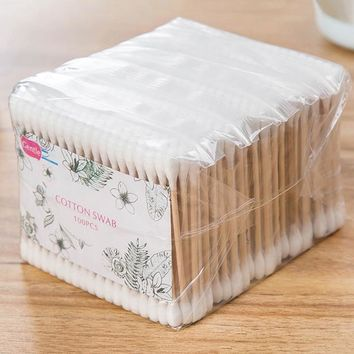 500pcs Women Beauty Makeup Cotton Swab Cotton Buds Make Up Wood Sticks Nose Ears Cleaning Cosmetics Health Care