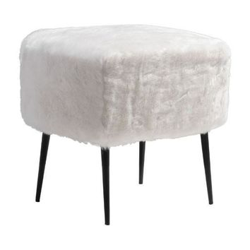 Fuzz White Fuzzy Faux Fur Stool