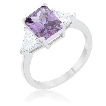 Classic Amethyst Sterling Silver Engagement Ring
