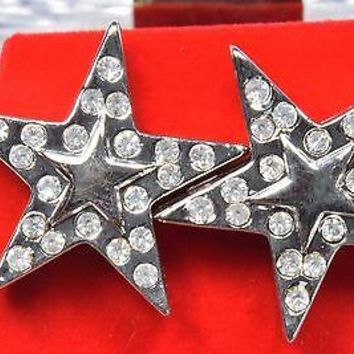 14k White Gold Plated Simulated Diamond Stud Star Earrings