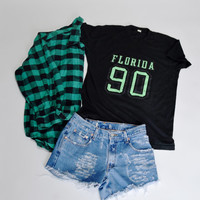 90s GRUNGE Mystery Outfit flannel shirt hipster destroyed shorts casual summer grunge