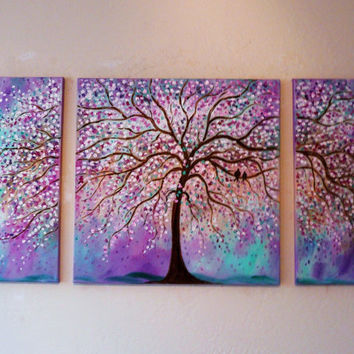 Large Commission Original oil  Painting -Violet, Purple, mint cherry tree-and love birds- 48 x 24