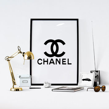 Coco Chanel Print, Printable, Chanel Logo, Fashion Print, Coco Chanel Logo, Wall Decor, Instant Download, Bedroom Decor