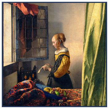 Girl Reading Letter by a Window by Johannes Vermeer Counted Cross Stitch or Counted Needlepoint Pattern