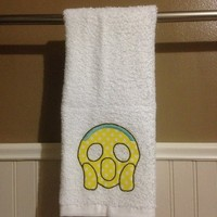 Scream Emoji Decorative Hand Towel