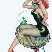 Pin Up Art Redhead On A Stool With Phone Poster
