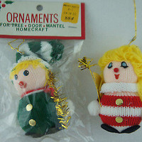 """Retro Knitted Christmas Ornaments """"Caroler & Musician"""" Figurines"""