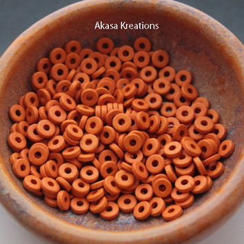 8mm Orange Mykonos Greek Ceramic Beads (qty 25 or 50) Disc Spacers Roundels Donuts Sacral Chakra Color Therapy Creativity Stimulation