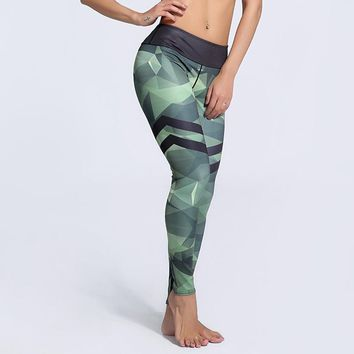 Women's Workout Leggings Army Green Stripe Quick Dry