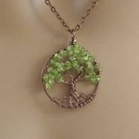 Peridot Tree Of Life Necklace Pendant Antique Copper Brown Chain Wire Wrapped Semi Precious Gemstone Jewelry February Birthstone Jewelry