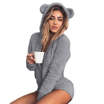 Sweet Fleece Playsuits Hoody Overalls Winter Long Sleeve Autumn Bodysuit Solid Rompers Sexy Cat Ear Body Kawaii Plus Size M0003