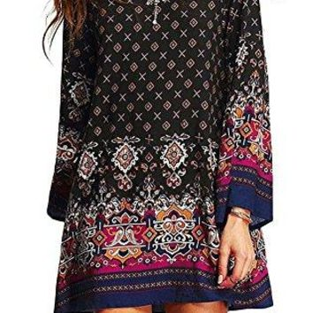 Women Bohemian Dress Ethnic Style Vintage Printed Summer Shift Casual Dress Beach Cover up