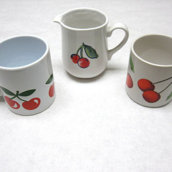 Cherry Mug Coffee Cup Creamer Cherries Eclectic Set