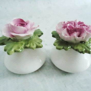 Wedding White and Pink Aynseley Floral Salt and Pepper Shakers - Vintage Aynsley Flower Shakers