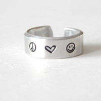 Peace Love Smile  - Aluminium Ring - Hand Stamped - Custom Made Cuff Ring