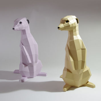 Meerkat Papercraft Kit, various colors