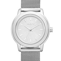 Women's DKNY 'Tompkins' Mesh Bracelet Watch, 28mm - Silver