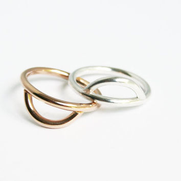 Rising Sun and Moon Ring Set, Chunky Ring Set, Gold Fill and Sterling Thick Rings, Simple Stacking Rings