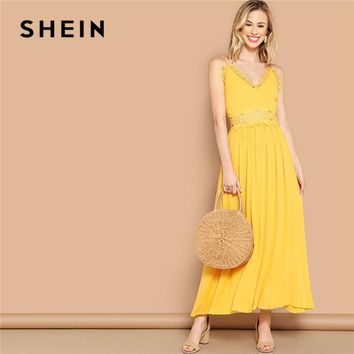 0eb982dd7f SHEIN Bright Yellow Lace Insert Fit And Flare Cami Maxi Dress Wo