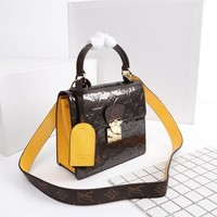 HCXX 1573 Louis Vuitton LV Monogram Vernis Lacquer cowhide Spring Street Handbag Brown Yellow