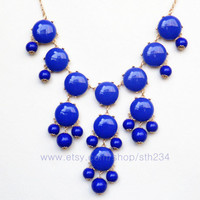 Royal Blue Necklace -  Smooth Bubble Statement Necklace - holiday party,bridesmaid gift,bubble necklace,beaded jewelry with chain
