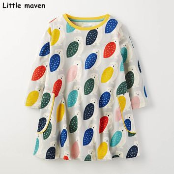 Little maven kids brand clothing 2017 new autumn baby girls clothes Cotton owl print girl A-line dress S0249