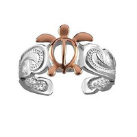 SILVER 925 HAWAIIAN PINK ROSE GOLD HONU TURTLE SCROLL TOE RING CUT OUT RHODIUM