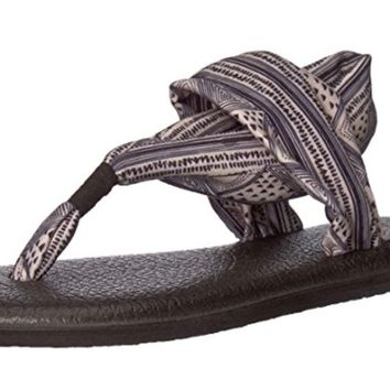 Sanuk Yoga Sling 2 Prints Tan & Black Geo Striped Sandals