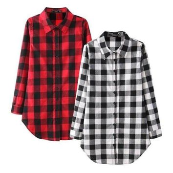 Ladies Women's Casual Long Sleeve Plaid Shirt Blouse Loose Lapel Shirt Tops USA
