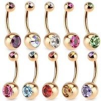 Double-Gem Non-Dangle Rose Gold Plated Navel Ring