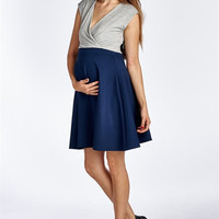 Navy and Grey Pleated Maternity Dress