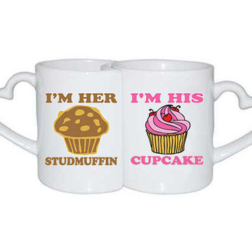 Love mug her Studmuffin his Cupcake Valentine Couples