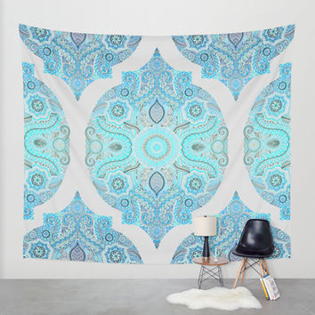 Through Ocean & Sky - turquoise & blue Moroccan pattern Wall Tapestry by Micklyn