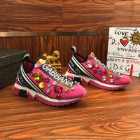 Dolce & Gabbana D&G Sorrento Sneakers With Embroidery Pink - Best Online Sale