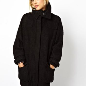 ASOS Premium Long Line Coat With Funnel Neck - Black $85.69