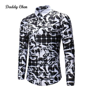 Casual shirt men Gothic black white Plaid 3D printed men's dress shirts long sleeves slim fit