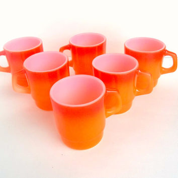 Anchor Hocking Fire King Mugs Set of 6 Flame Motif