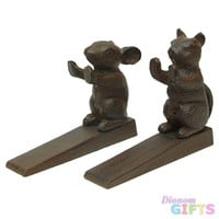 Set of 2 Cast Iron Cat & Mouse Door Wedges