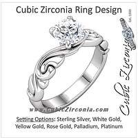 "Cubic Zirconia Engagement Ring- The Miranda (1 Carat Round-Cut ""Scrunchy"" Band Solitaire)"
