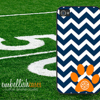 Auburn Tigers iPhone 4 Case, college football iPhone case, tiger paw iPhone 4s case, navy blue & orange monogrammed -  222