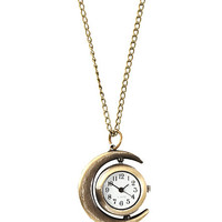 Antique Gold Tone Half Moon Clock Necklace