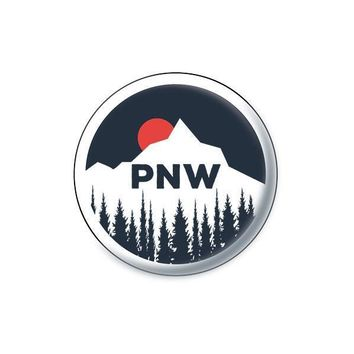 PNW Sun Setting Behind Mountain Sticker