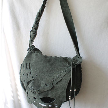 Butterfly wing moth bag Hippie fairy elvish larp suede bohemian distressed gray rustic leather gypsy free spirit people handmade large purse