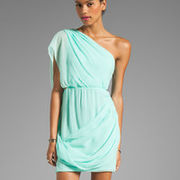 Alice + Olivia Wesson One Shoulder Draped Dress in Aqua Splash from REVOLVEclothing.com