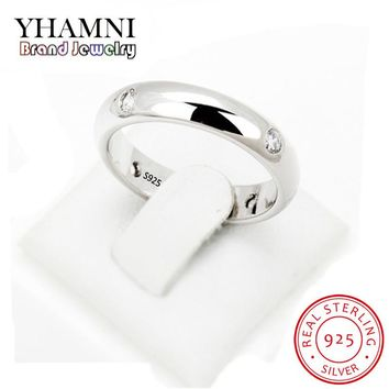 YHAMNI 4mm Women Silver Ring High Polished Wedding Band 925 Sterling Silver Rings Simple Engagement Bague Female Jewelry AR94601