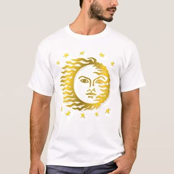 Golden Embossed Sun With Stars And Shadows T-Shirt