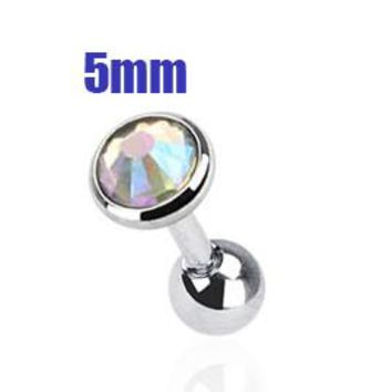 5mm AB Crystal Cartilage Helix Earring, Silver Tragus Piercing Stud