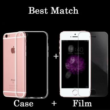 6s HD Clear Premium Tempered Glass Screen Protector for Iphone 5 5s SE 6 6s Plus Phone Case Toughened Protective Film + Package