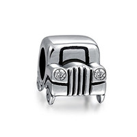Christmas Gifts Sterling Silver Jeep Car Bead CZ Headlights Fits Pandora Charms