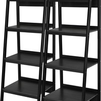 Set of 2 Black Ladder Style Bookcase with 4 Shelves